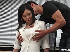Powered interview for job ends up with clamminess missionary fuck with Miyuki Ojima