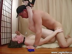 Submissive Emily H. led roughly on a leash before a fast fuck with Authority