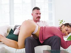 Strict daddy is spanking added to fucking 19 yo stepdaughter Kendra Spade