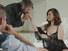 Luring voyeur is watching old timer fucking his sexy young wife