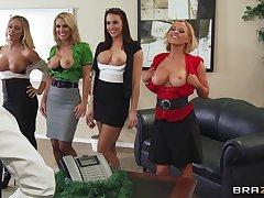 Group sex with a big Hawkshaw guy plus three irresistible pornstars