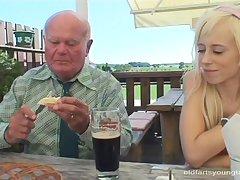 Skinny blonde Kristyna B loves having lovemaking with her mature lover