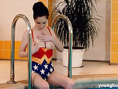 Amazing busty pool chick Angel Princess loves fingering her soaking scatter