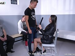 Domineer sexy Czech cop Mea Melone is fucking three amateur guys