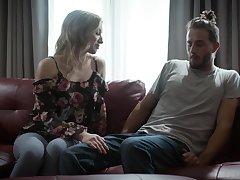 Sensual lovemaking almost the livingroom with long hair Riley Reyes