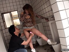 Public restroom fuck goes better than planned and that chick has a hairy pussy