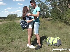 Picnic with domineer teen girlfriend ends with crazy and passionate sex