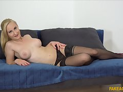 Amateur blonde with an amazing used of tits having sex during casting