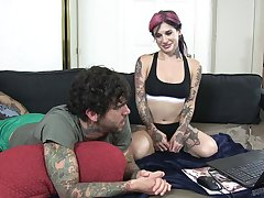 Tattooed slut Joanna Promoter gives a footjob plus gets fucked