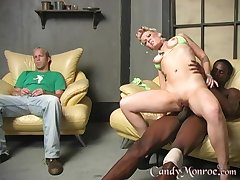 Interracial making out in front of a cuckold husband - Candy Monroe