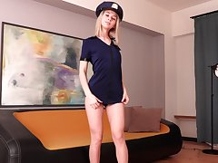 Naughty coed is playing with stepmom's policewoman unvarying