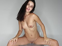 Solo brunette amazes around how slutty she can tease