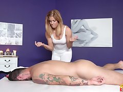 Hot masseuse Chrissy gets her adorable cunt drilled by a hung client