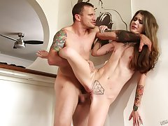 Skinny brunette Adriana Angel spreads will not hear of long legs to be fucked