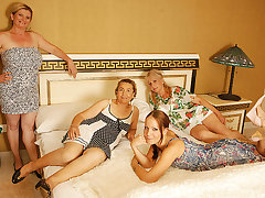 Four Old Plus Young Lesbians Having A Special Party - MatureNL