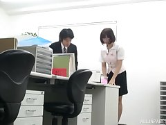 Calm fucking in excess of get under one's office food with a Japanese secretary