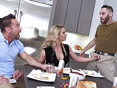 New dad's girlfriend Phoenix Marie gives a blowjob by means of American anthem
