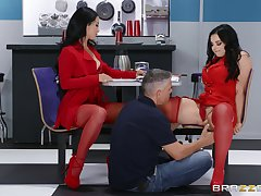 Office FFM triumvirate about cougars Katrina Jade and Payton Preslee