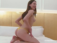Stunning solo model Candy Beloved loves fingering her muddy pussy