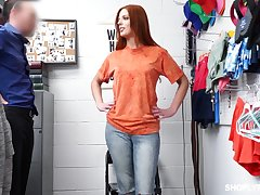 Hot similar kind fire ginger babe Scarlett Mae gets punished for shoplifting