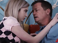 Petite blonde teen, Lexi Tutoring doesnt find it aberrant that her step- father wants to fuck her
