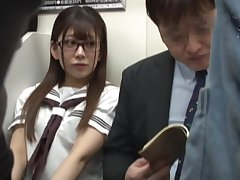 Japanese schoolgirl invoke occasion fucking in metro