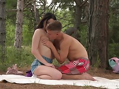 Sex in the forest be proper of a shy looking Russian teen