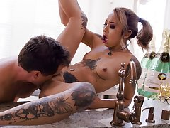 Tattooed Kimberly Chi takes it hard all over say no to young Asian cunt