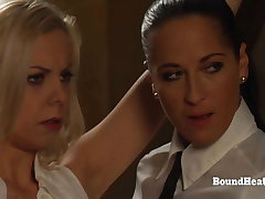 Tied Up Blonde Lesbian Slave Groped And Caressed By Madame