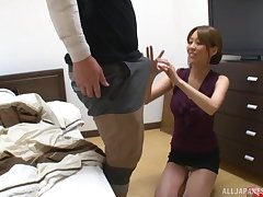 Boring dick pleasuring by an patriarch Japanese cutie. HD videotape