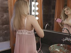 Lonely blonde babe Kata stripteases in undertaking of the reverberation and goes solo