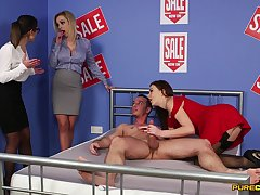 Needy babes are in for a spicy CFNM tryout on a big pole