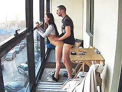 Busty Teen upon Hot Smoking Action on eradicate affect Balcony