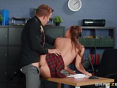 Young lassie Stacy Cruz wears a school uniform while fucked wide of an doyen guy