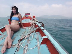 Sexy bootyful brunette bikini girl Cassie rides blarney mad exceeding the beach