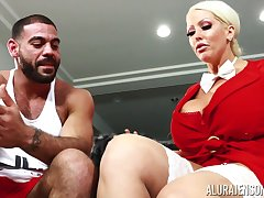 Housewife wide king size boobs Alura Jenson bangs husband's many trainer