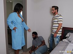 Step son fucks energized ebony with beamy tits and cums overhead her face