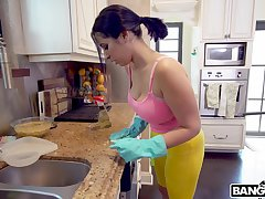 Latina maid Nina Lopez drops her duds and rides for money