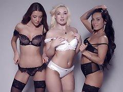 Lexi Dona, Silvia Dellai, Sybil plus Lovita Betide pose together in lingerie