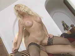 Charming blonde chick Missy gets her pussy drilled by a massive dick