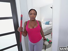 Wild interracial fucking connected thither POV thither busty ebony Nyna Stax