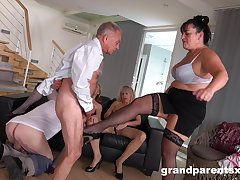 Young plus old amateurs conjoin for a dispose fuck fest