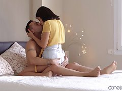 High-class making love session with rich brighten teenage cutie Kitty Love