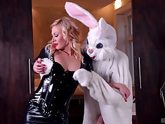 Slim cosset rides the big bunny dick in a crazy play