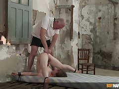 Regimen twink endures old man's crooked punishment in serious anal BDSM conduct oneself