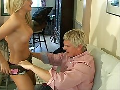 Vibrant lovemaking with blonde confer wife Barrbie overhead the sofa