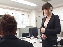 Busty nude Tokyo babe is regarding for a crazy fuck before office