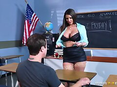 Beamy irritant teacher reveals her huge tits to the guy before getting laid