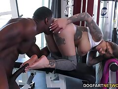 Black jock bangs super sexy fitness milf Destiny Rx all over anus with an increment of cums on her feet