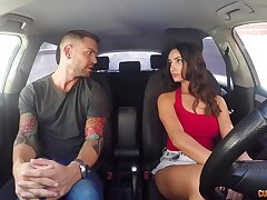 Flavour of along to month up curvy sexy Alyssia Kent rides strong cock right on along to backseat